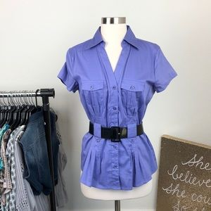 Antilia Femme periwinkle belted top